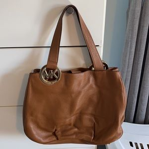 Michael Kors Brown Leather Harness luggage Purse
